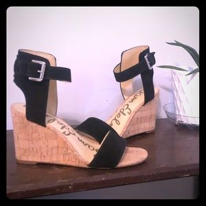 Sam Edelman black wedge sandals, like new!!